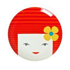 Kokeshi Plate Red  by Kaoru Shibata