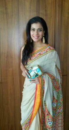 sari - white with multi-colored embroidery
