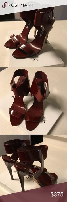 Manolo Blahnik Pepe Sandals Manolo Blahnik, Bordeaux Red, Pepe Sandals Patent Leather and elastine upper Leather lining and sole  Brand new in box. Size 6 Last two photos are sample of what it looks like on in color black. Manolo Blahnik Shoes Heels