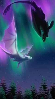 northern lights and dragons Toothless Wallpaper, Dragon Wallpaper Iphone, Cute Fantasy Creatures, Mythical Creatures Art, Httyd Dragons, Cute Dragons, Cute Disney Wallpaper, Cartoon Wallpaper, Dragon Artwork