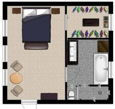 architectural plan for garage conversion to master bedroom and bath - Google Search