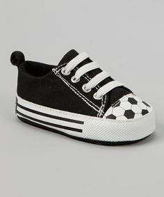 Take a look at this Black & White Soccer Sneaker by Vitamins Baby on #zulily today!