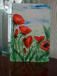 Orange Poppy Wildflower Encaustic Art £7.00