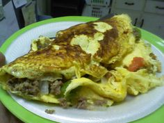 mushroom, onion, green/red/orange pepper, sausage and sharp cheddar cheese omelette