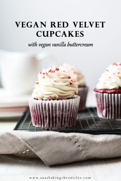 Fluffy and extremely moist vegan red velvet cupcakes, paired with light and airy vegan vanilla ermine frosting. Guaranteed to blow your tastebuds away!⎪www.anasbakingchronicles.com via @anasbakingchronicles
