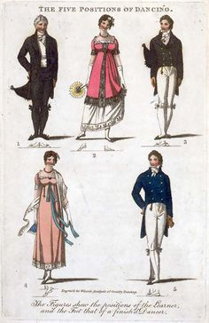 The Five Positions of Dancing, showing some rather fantastic Regency formal costumes.