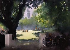 Berzeli Park , Stockholm. Akvarell av Stefan Gadnell