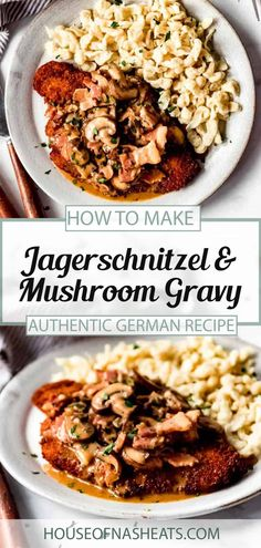 Jagerschnitzel with bacon mushroom gravy will become a family favorite in no time! This easy German dinner recipe is quick to make and perfect with spaetzel, egg noodles, or even mashed potatoes. This easy Jagerschnitzel recipe looks and tastes like you've been in the kitchen all day, but is ready in less than an hour! #schnitzel #jagerschnitzel #german #austrian #porkchops #crisp #breaded #sauce #gravy #bacon #best Entree Recipes, Pork Recipes, Brunch Recipes, Easy Dinner Recipes, Asian Recipes, Ethnic Recipes, Dinner Ideas, Mushroom Gravy, Bacon Mushroom