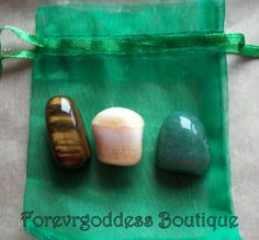 : Tiger eye: Brings order stability, wealth and good luck Citrine: Stone of success, money, abundance and prosperity Aventurine: Brings balance, good luck, money, prosperity Once charged and cleanse, they can be used to find a way to gain wealth, abundance and good luck .