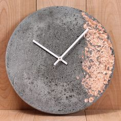 Lightweight cast concrete 11 wall clock with inlaid copper, silver or gold foil. Made in Canada. Cement Art, Concrete Cement, Concrete Furniture, Concrete Crafts, Concrete Projects, Concrete Design, Concrete Leaves, Polished Concrete, Plywood Furniture