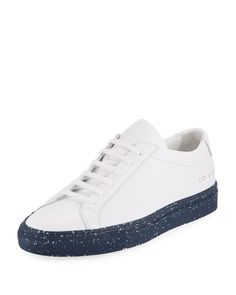 COMMON PROJECTS MEN'S ACHILLES LEATHER LOW-TOP SNEAKER WITH CONFETTI SOLE. #commonprojects #shoes #