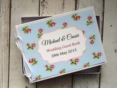 classic personalised wedding guest book shabby chic red roses