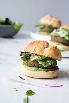 Lentil & Sunflower Veggie Burger w/ Avocado Herb Sauce + Pickled Zucchini (Vegan) by The Green Life