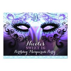 #Glam Eyelashes Purple Masquerade Party Invitations - #birthday #gift #present #giftidea #idea #gifts