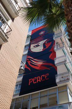 """Peace"" OBEY. Proyecto MAUS/ Soho Málaga. #StreetArt #ArteUrbano #Art #Arte #Arterecord 2015 https://twitter.com/arterecord"