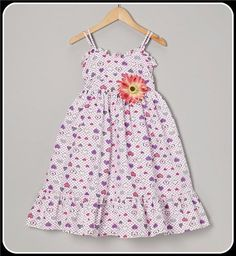 Purple Hearts PolyCotton Casual Flower Girls Sundress w. Ruffle Trim Isabellasfate.com