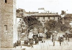 Plaza San Agustín 1900- PLAZAS DE VALENCIA Alicante, Plaza, Where To Go, Trip Planning, Paris Skyline, Spain, Street View, Explore, Beach