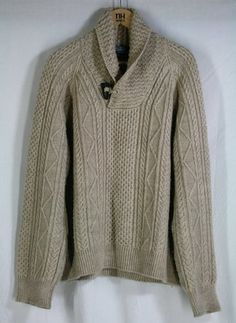 Gorgeous for fall & winter, this POLO RALPH LAUREN Mens Chunky Shawlneck Sweater w Toggle Cable Knit Merino Sz XXL