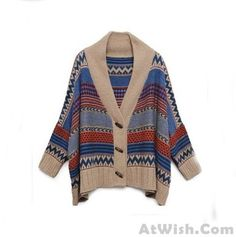 Wow~ Awesome Folk Style Geometry Bat Sleeve Sweater Cardigan ! It only $34.99 at www.AtWish.com! I like it so much<3<3!