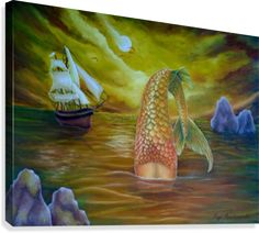 Seascape, painting, mermaid, merpeople, tail, mythical, mythological, legendary, nautical, marine, sailboat, colorful,  gold, yellow, artwork, for sale