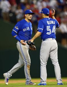Troy Tulowitzki, Roberto Osuna, TOR//Game 3 ALDS at TEX, Oct 11, 2015