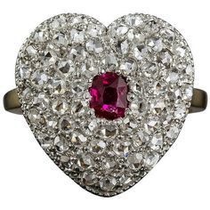 Pre-owned Edwardian Ruby Diamond Heart Shaped Ring ($8,550) ❤ liked on Polyvore