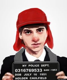 """Banned Books Mugshot"" by Kate Boryeskne. Holden Caulfield from J.D. Salinger's ""The Catcher in the Rye"""