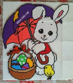 Easter bunny hama perler beads by Deco. Hama Beads 3d, Hama Beads Design, Fuse Beads, Pearler Beads, Pearler Bead Patterns, Perler Patterns, Hama Disney, Motifs Perler, Melting Beads