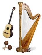 Arpa, cuatro y maracas, instrumentos de música venezolana