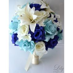 blue bride bouquet-Lily of Angels silk flowers