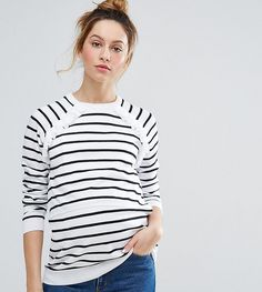 0122f998d18 Click for more details. Worldwide shipping. ASOS Maternity NURSING Stripe  Double Layer Jumper - White  Maternity jumper by ASOS Maternity