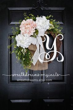 NEW Pale Pink & White Hydrangea Wreath. Burlap by WreathDreams