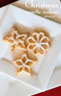 Christmas rosette cookies - Rosettes can be stored in airtight containers for months. These cookies freeze really well too. Christmas Cookie Exchange, Best Christmas Cookies, Christmas Sweets, Holiday Cookies, Holiday Treats, Holiday Recipes, Christmas Eve, Thanksgiving Cookies, Xmas