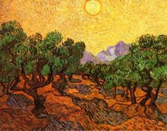 Vincent van Gogh Olive Trees with yellow sky and sun prints - Art Painting Vincent Van Gogh, Van Gogh Olive Trees, Sun Prints, Paintings Famous, Yellow Sky, Sun Art, Poster Prints, Wall Art, Artist