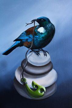 Tui and Pounamu oil painting by Diane Greenstone pendant kiwiana NZ New Zealand art paintings Bird Artwork, Watercolor Artwork, Watercolor Tattoos, Watercolour, New Zealand Tattoo, New Zealand Art, Tui Bird, Maori Patterns, Key Tattoos