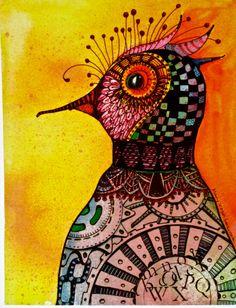 Items similar to Bird painting folk art zentagle 2 Bird Chicken Art Print copy watercolor zentangle tateam on Etsy Art And Illustration, Illustrations, Psychedelic Art, Steampunk Bird, Steampunk Drawing, Drawn Art, Chicken Art, Arte Popular, Bird Art