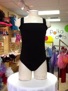 Camisole Sleeved Leotard in Black: $18.95. For more information or to check size or availability, call or email Polka Dots. 916-791-4496. polkadotsproshop@gmail.com