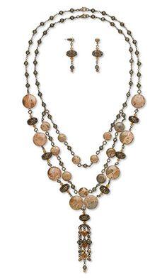 "Gemstone Jewelry Designs - ""Cuninghame's Memento""--two-piece necklace and earring set with safari jasper and red aventurine gemstone beads. Jewelrydesignidea #jewelrymaking #FireMountainDesigns #gemstones #gemstonebeads"
