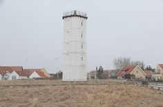The White Lighthouse is situated at the junction of Fyrvej and Batterivej, in Skagen, Denmark