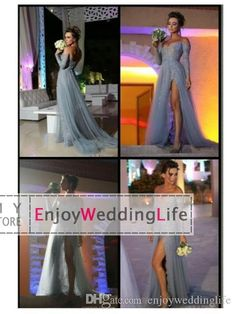 Wholesale Evening Dresses - Buy New Sexy Gray Sheer Long Sleeves Tulle Evening Dresses 2015 Off The Shoulder Lace Applique Beaded Split Floor Length Prom Formal Dresses, $156.03 | DHgate