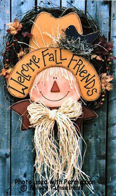 Autumn scarecrow hanging, so cute