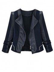 Patchwork Stylish Round Neck Plus Size Jackets
