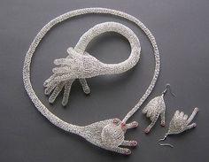 Wire knitting by Blanka Sperkova Textile Jewelry, Wire Jewelry, Jewelry Art, Jewelery, Handmade Jewelry, Jewelry Design, Unique Jewelry, Knitted Necklace, Crochet Earrings