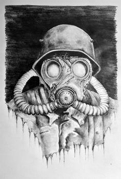 Jakub DK - Paintings for Sale Gas Mask Drawing, Gas Mask Art, Masks Art, Drawing Art, Cool Drawings, Tattoo Drawings, Totenkopf Tattoos, Mask Tattoo, Desenho Tattoo