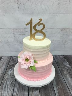 Ombre Rough Iced Cake With Gum Paste Flowers