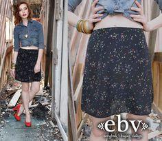 #Vintage #90s #Black #Floral #Mini #Skirt S M by shopEBV on Etsy, $40.00