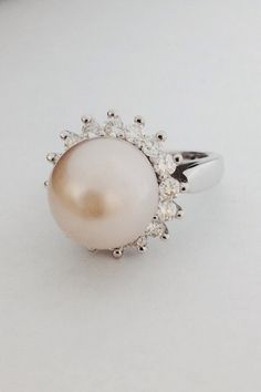 18K White Gold Diamond Halo Pearl Cocktail Ring by DeKaraDesigns