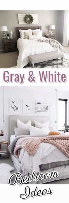 Love the neutral style of these bedrooms! Gray and white bedroom ideas (some with pops of color)