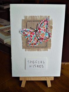 Handmade sewn butterfly card made with linen and Liberty fabric