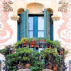 Balcony in the Barrio de las Letras (Literary Quarter), Madrid, Spain